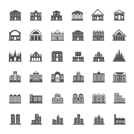 Building icon set Ilustrace