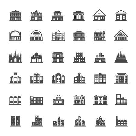 Building icon set Illusztráció