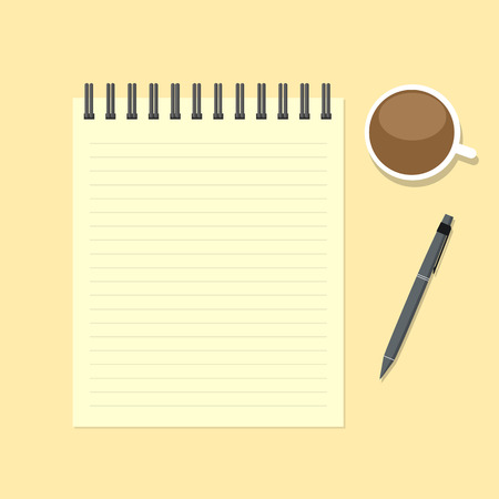 paper note: Paper note with pen and coffee cup