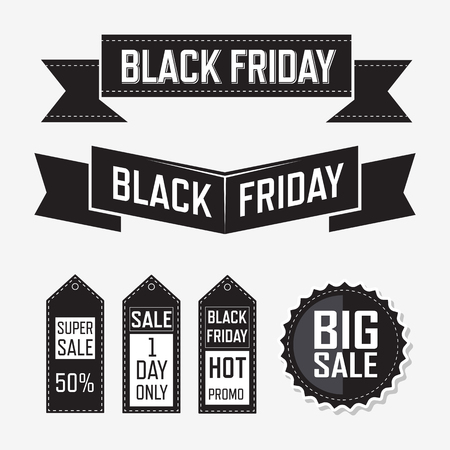 sale sign: Black friday banner offer flat elements lable design Illustration