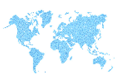 art digital: World map of rounded corner square blue