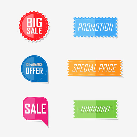 lable: Banner offer flat elements lable design