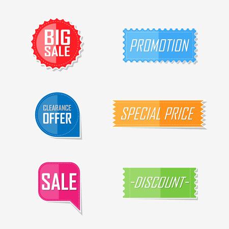sale sign: Banner offer flat elements lable design