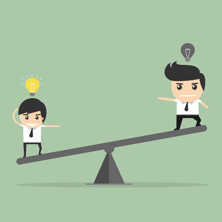 justice scale: Valor de la idea. sube y baja del empresario concepto Vectores