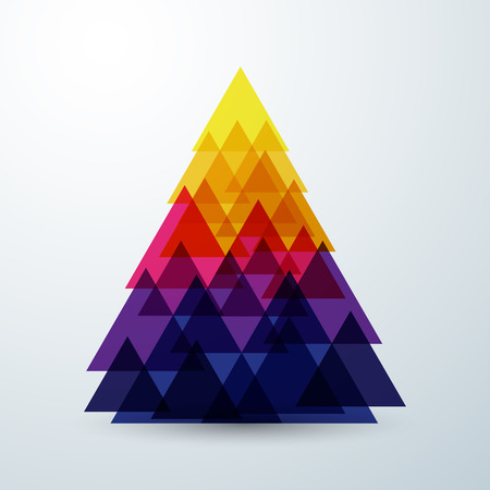 Christmas tree abstract triangle with colorful creative art geometric 2 Illustration