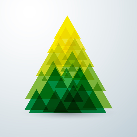 tree ornaments: Christmas tree abstract triangle with green creative art geometric