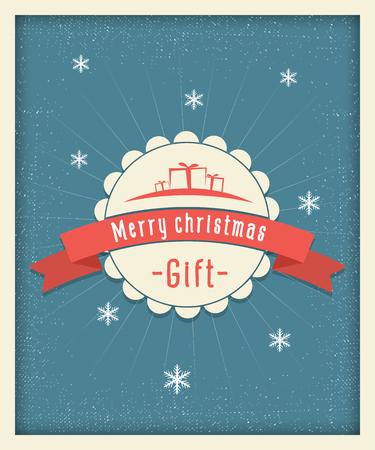 postcard design: Merry christmas gift postcard vintage design Illustration