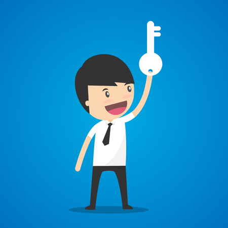 leadership key: Businessman holding the key. Illustration