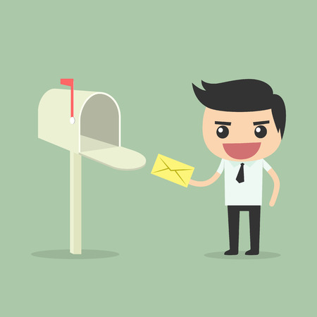 receive: Businessman receive and send mail at mailbox.
