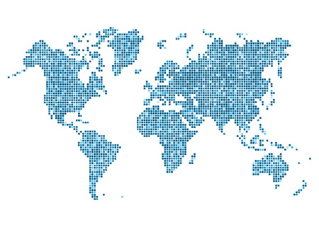 varicolored: World map of rounded corner square blue varicolored