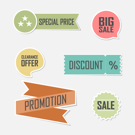 sale icon: Banner set of offer flat elements lable design
