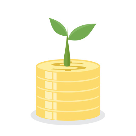 earnings: Growing tree on coins. Earnings concept