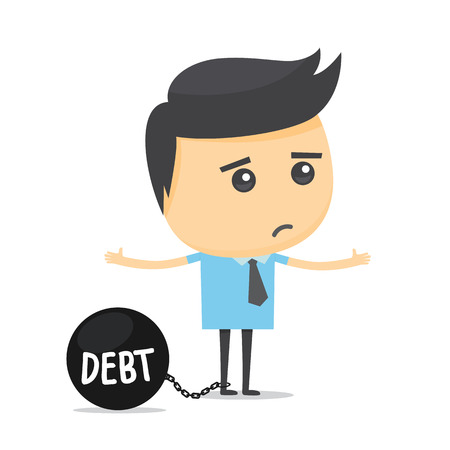burden: Businessman with debt burden. Illustration