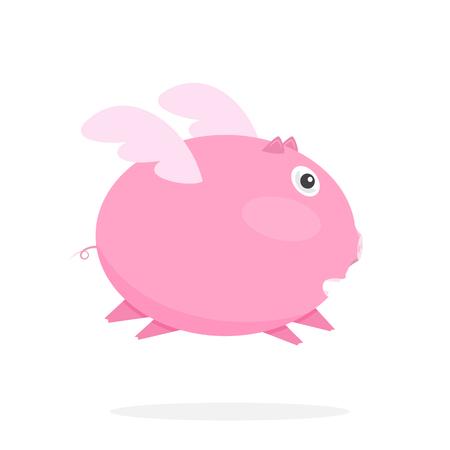 flying pig: Flying Pink Pig. Illustration