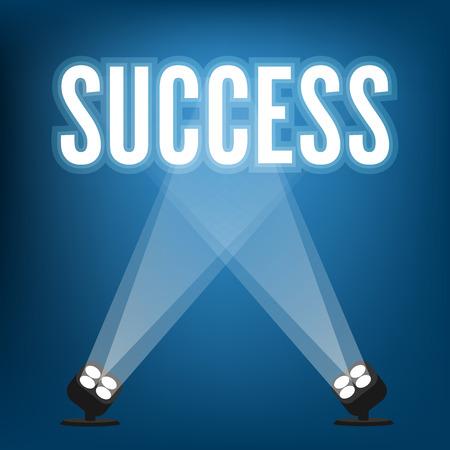 Succes tekenen met schijnwerpers verlichte Stock Illustratie