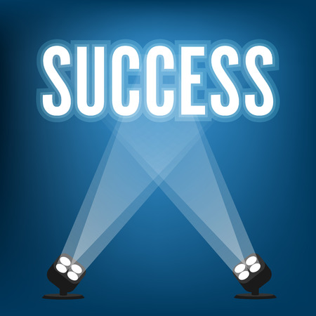 Success signs with spotlight illuminated 矢量图像