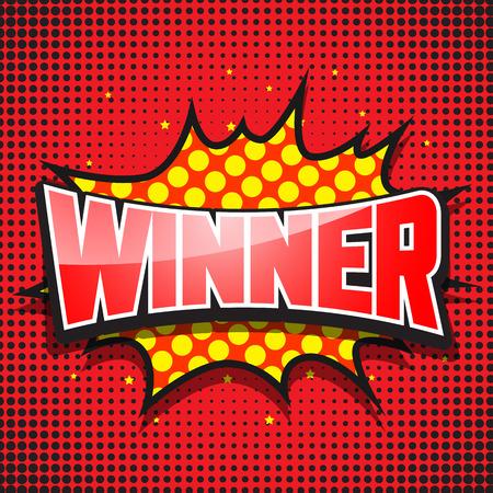 cartoon bomb: Winner. Comic Speech Red Bubble. Vector illustration Illustration