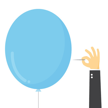 stab: Businessman stab the balloon with needle.