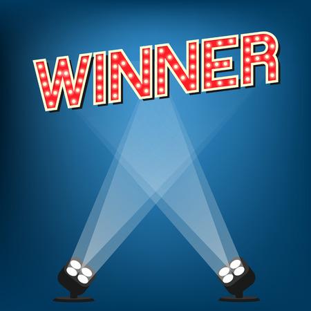 青い背景のステージ上の受賞ラベル