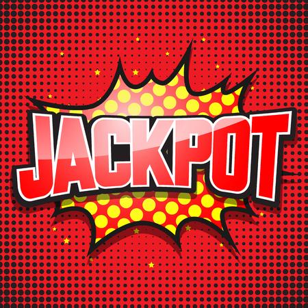 cartoon bomb: Jackpot. Comic Speech Bubble. Vector illustration