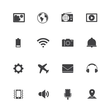 flight mode: Smartphone function icons. Illustration