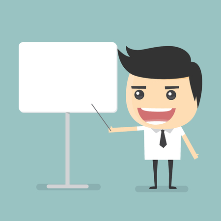 cartoon board: Businessman presentation with whiteboard