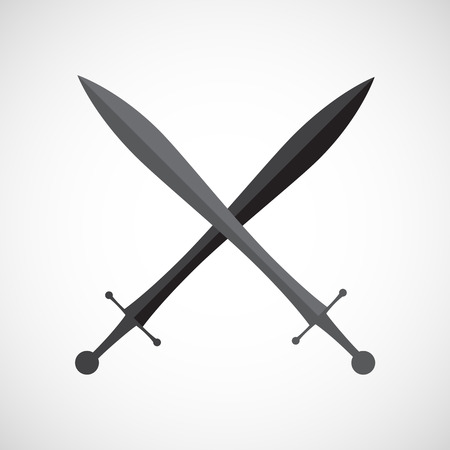 cross armed: Crossed swords.