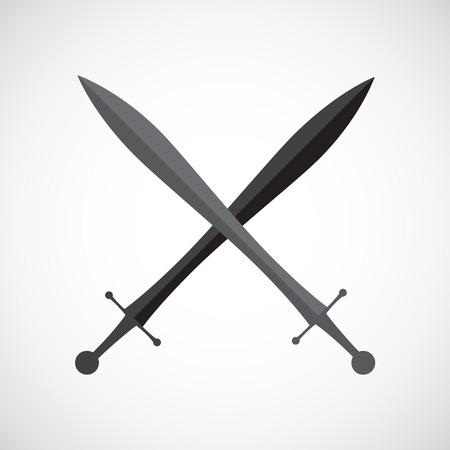 broadsword: Crossed swords.