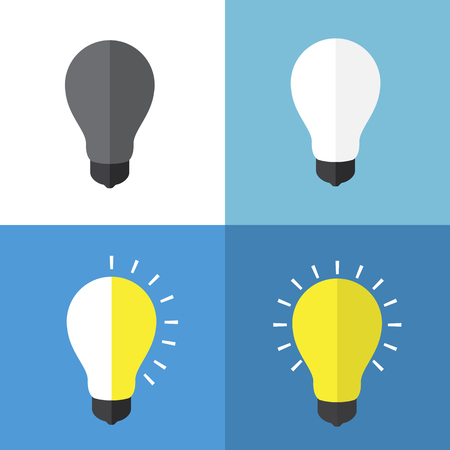 status: Light bulbs status flat icons