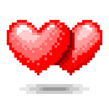 double: Double Heart pixel concept Illustration