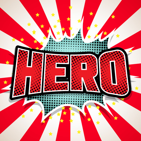 Hero Comic Speech Bubble. vector illustratie Stock Illustratie