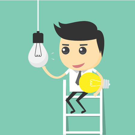 change: Businessman change light bulb. changed the idea