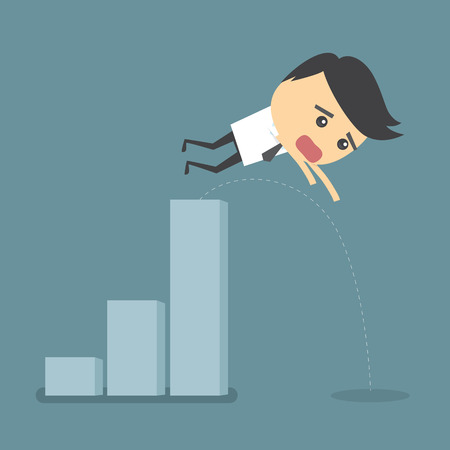 stock price losses: Businessman jump down from the graphs that are growing.