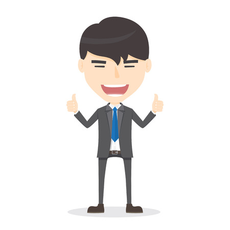 thumb up: Businessman manager thumbs up. good job Illustration