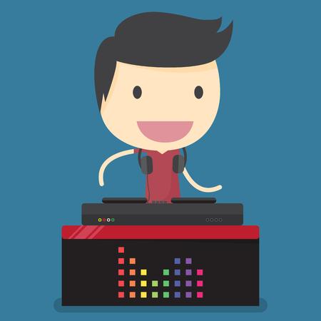 dj equipment: dj man. Illustration