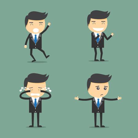 expressing: Concept of businessman worker expressing feeling and emotion. Illustration