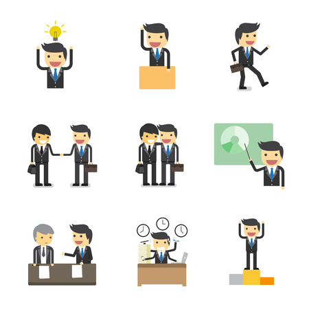 talking cartoon: working process of businessman character Illustration