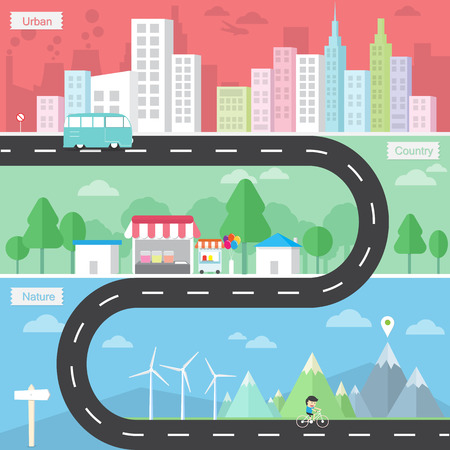 country road: Set of the road landscape  with urban country and nature of flat design Illustration