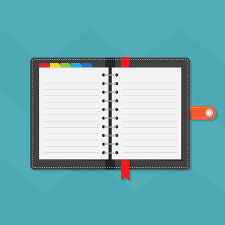 meeting agenda: Notebook colorful tabs with line paper
