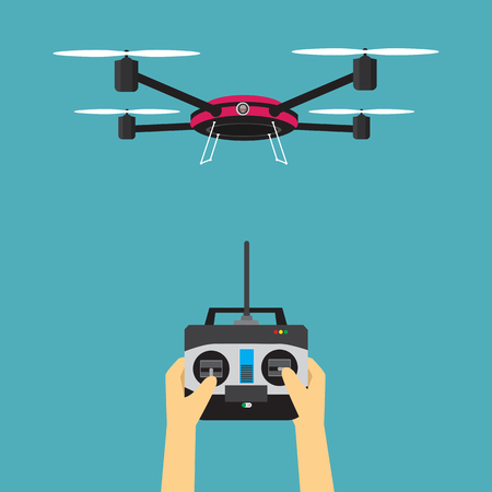 Drone with remote control Illustration