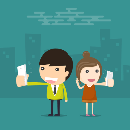 smartphone in hand: Taking Selfie with Smart Phone Illustration