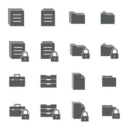 gestion empresarial: iconos de bloqueo documento