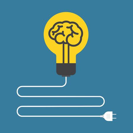 science education: Circuit. Concept of brain light bulb. Flat design. Illustration