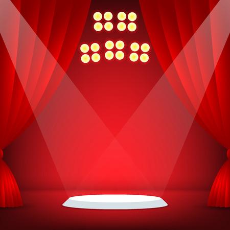 ステージの背景が赤です。ベクトル図