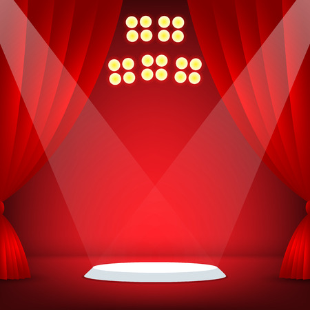 Stage with red background. Vector illustration