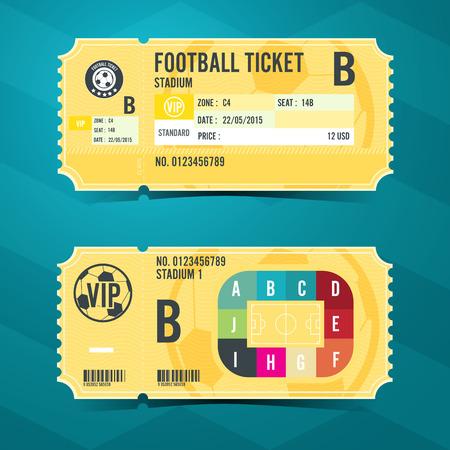 football soccer: Football ticket card retro design. Vector illustration