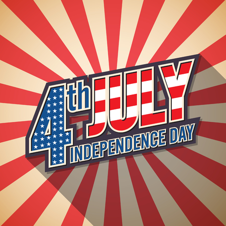 4th july. American independence day. Retro design.