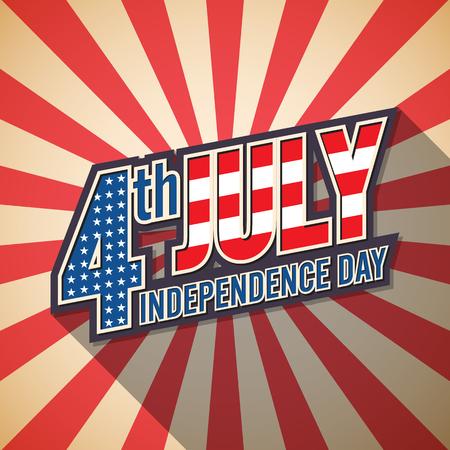 7 月 4 日。アメリカの独立記念日。レトロなデザイン。