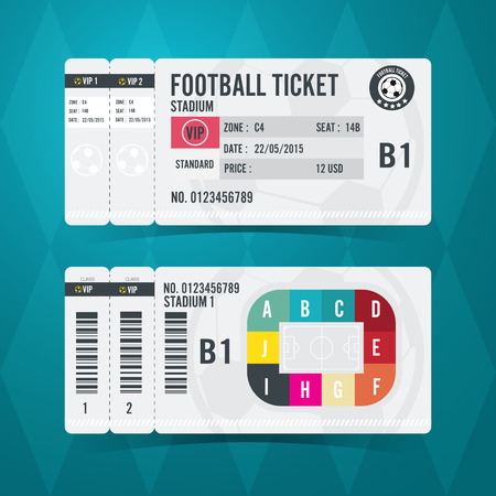 Football Ticket Card Modern Design Royalty Free Cliparts Vectors