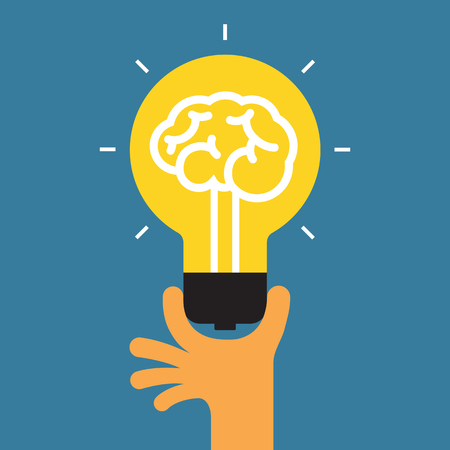 icon the idea: Hand holding light bulb. Concept of the success idea.